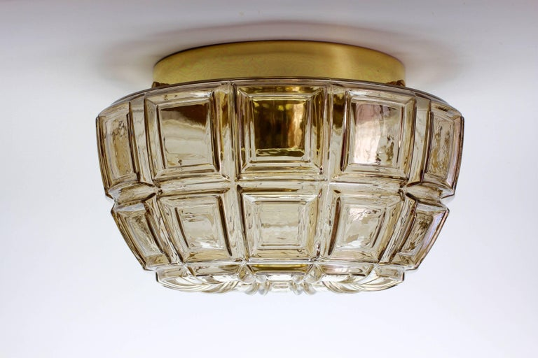 Pair of Amber Toned Textured Glass Flush Mount Wall Lights or Sconces by Limburg For Sale at 1stdibs