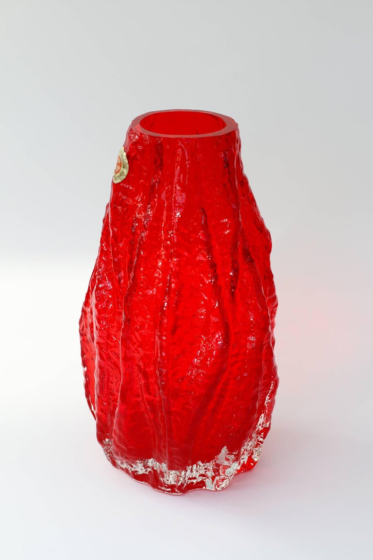 Mid-Century Modern Vintage German Vibrant Red Glass Tree Bark Vase by Ingrid Glas, circa 1970s For Sale