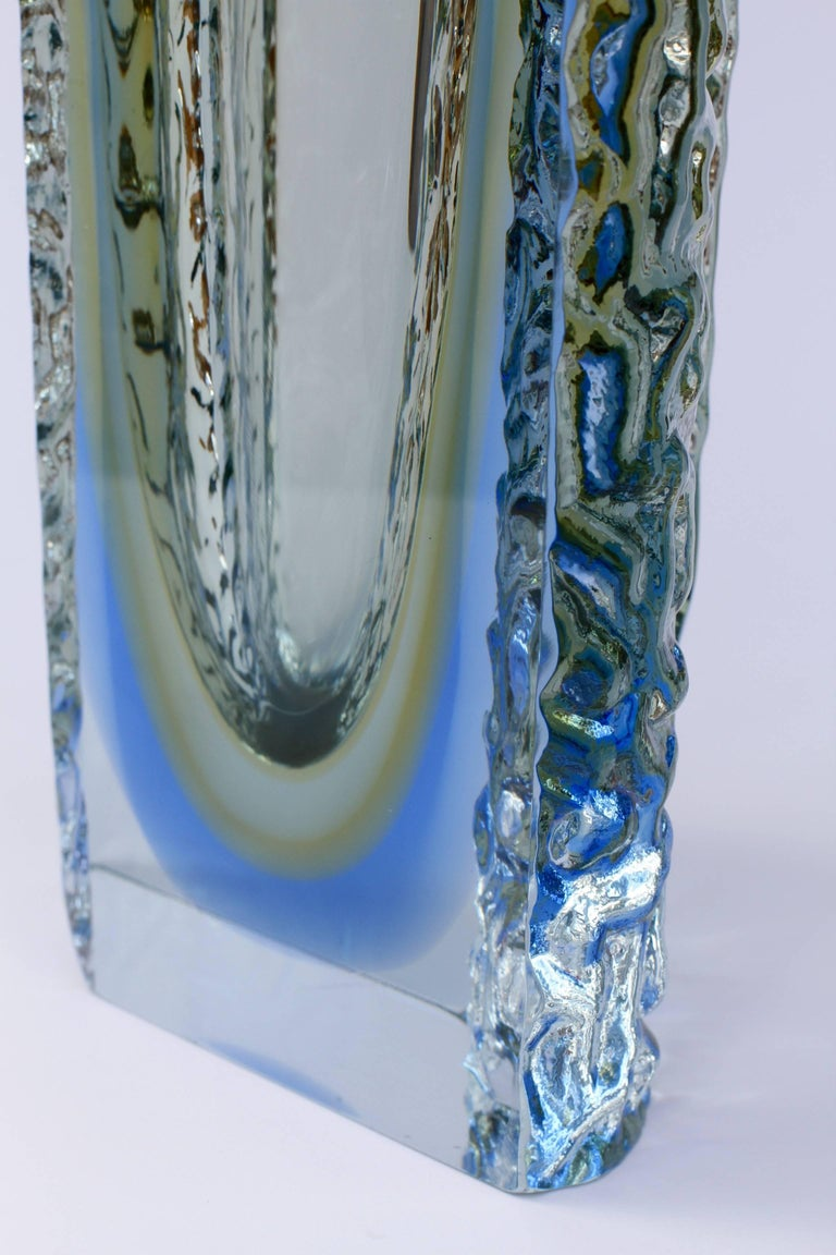 Blown Glass Large Textured Murano 'Sommerso' Blue Ice Glass Vase Attributed to Mandruzzato For Sale