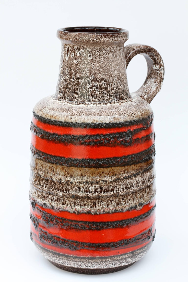 Large Midcentury West German Red Striped Vase With Lava
