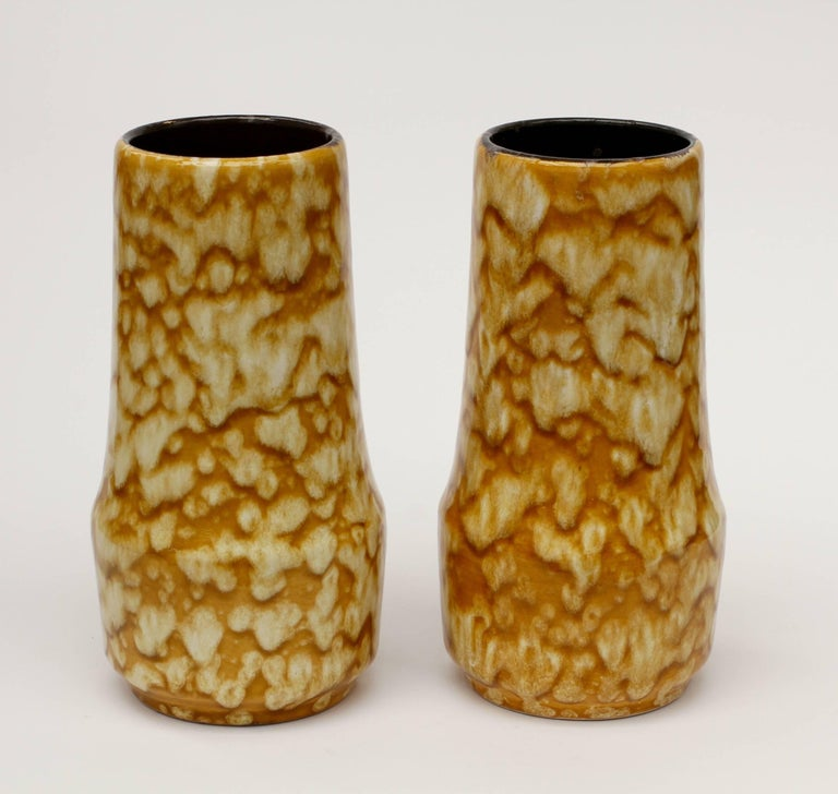 Gorgeous pair of vases by West German Pottery manufacturer Scheurich Keramik (Ceramic), circa 1965. Add a splash of color/colour to your home decor with these beautiful mustard yellow