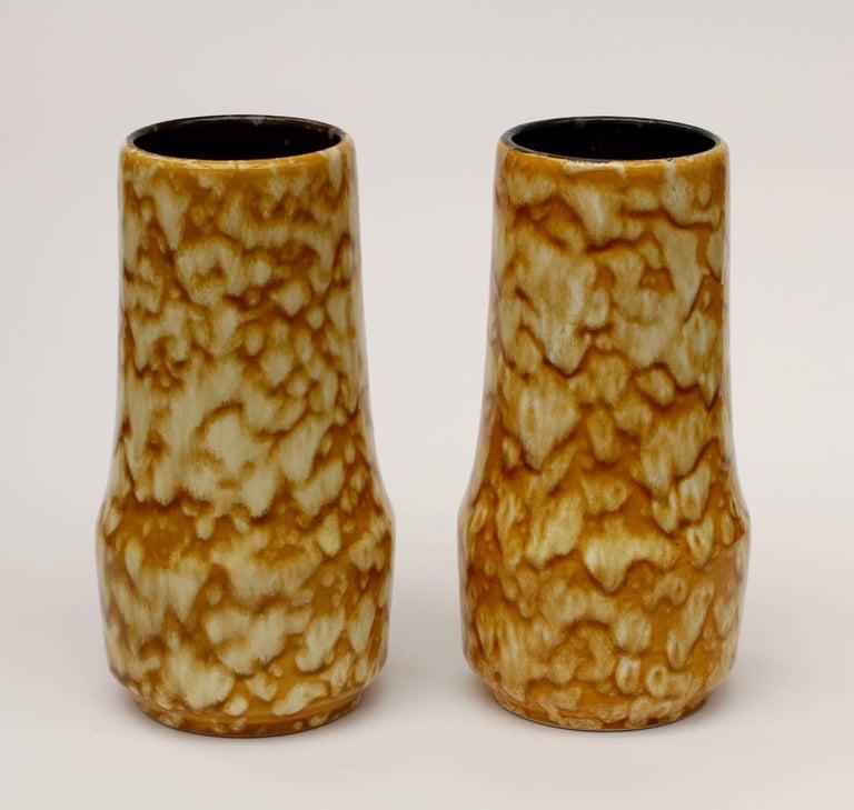 Mid-Century Modern Pair of West German Mid-Century Yellow Lava Glaze Vases by Scheurich, circa 1965 For Sale
