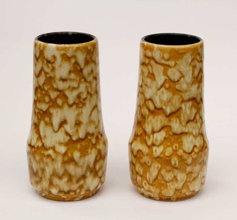 Fired Pair of West German Mid-Century Yellow Lava Glaze Vases by Scheurich, circa 1965 For Sale