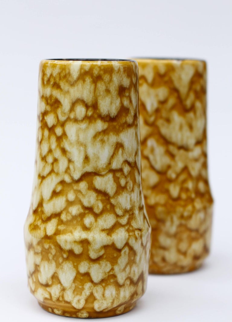 Clay Pair of West German Mid-Century Yellow Lava Glaze Vases by Scheurich, circa 1965 For Sale