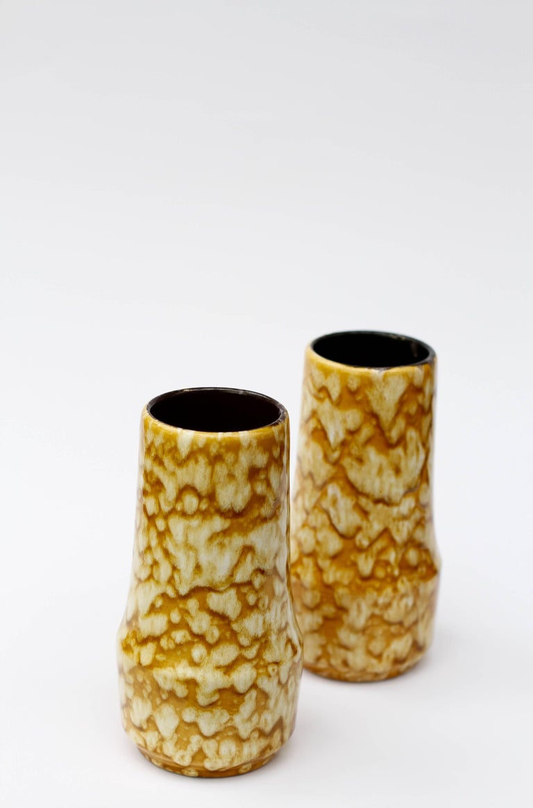 Pair of West German Mid-Century Yellow Lava Glaze Vases by Scheurich, circa 1965 For Sale 1