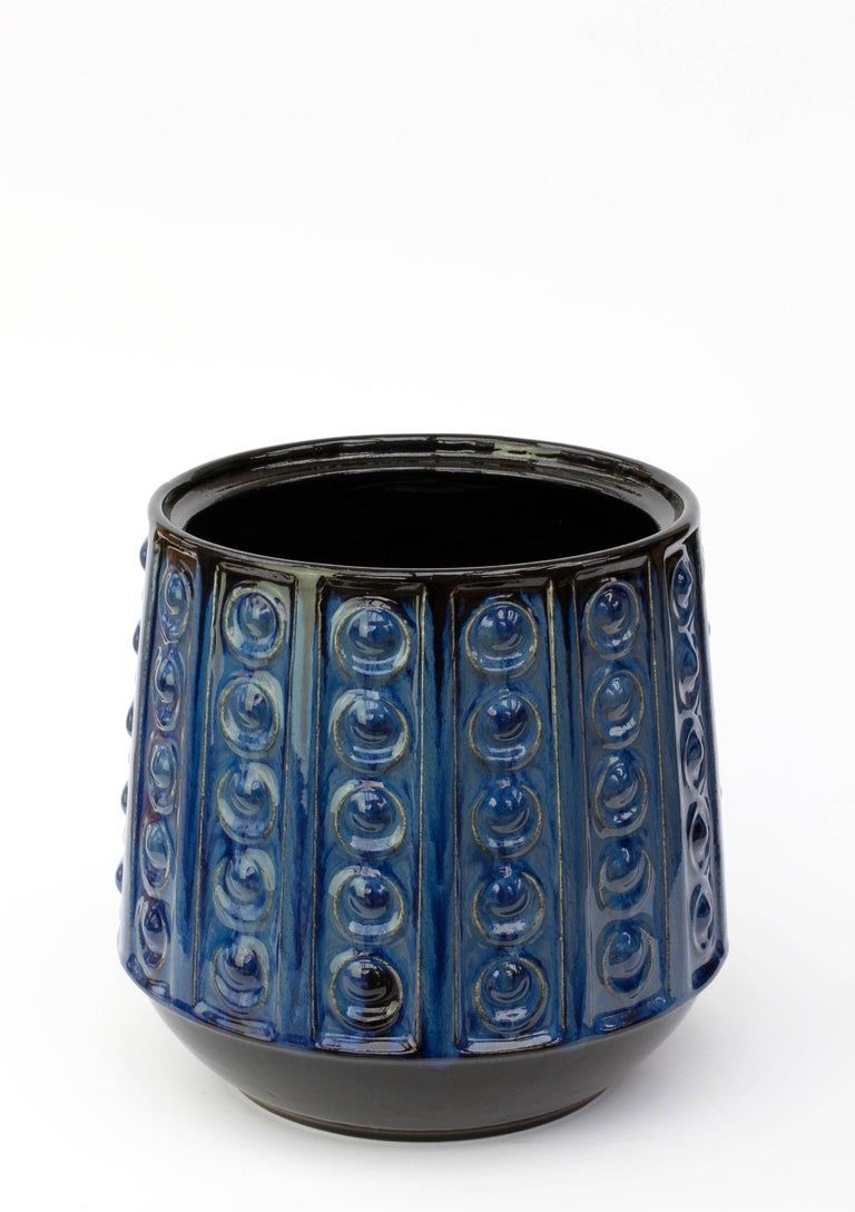 Mid-Century Modern Textured Blue Mid-Century West German Vase or Pot by Jasba Pottery, circa 1970 For Sale