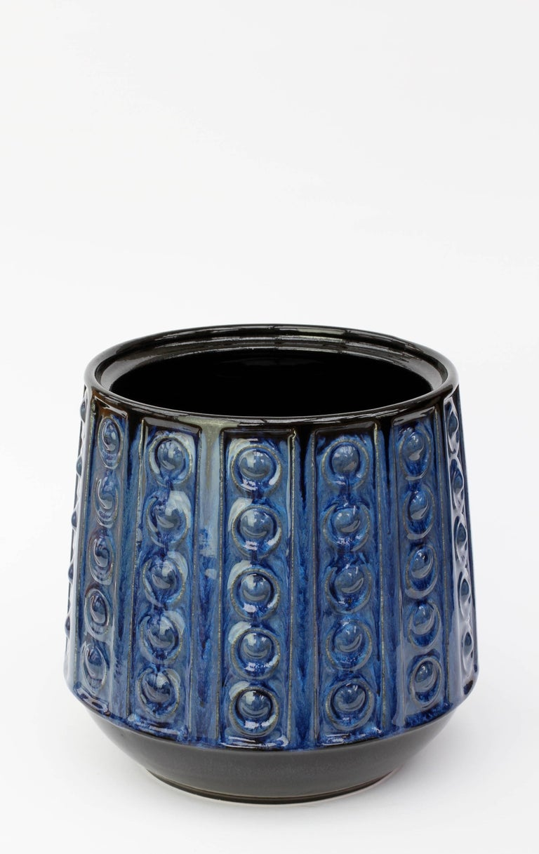 Glazed Textured Blue Mid-Century West German Vase or Pot by Jasba Pottery, circa 1970 For Sale
