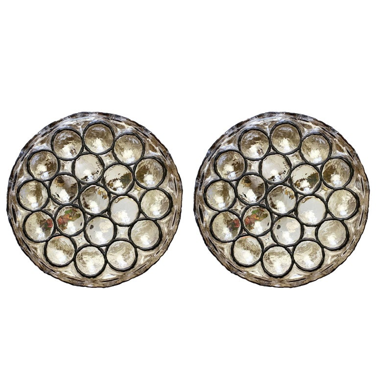 Pair of Circular Iron Rings and Glass Flush Mount Lights or Lamps by Limburg For Sale
