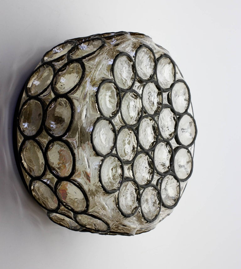 Molded Pair of Circular Iron Rings and Glass Flush Mount Lights or Lamps by Limburg For Sale