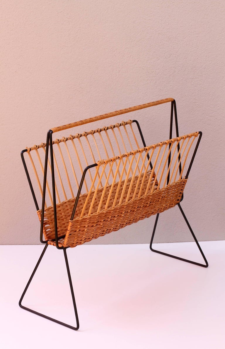 Painted Mid-Century Modernist Wicker Magazine Rack Stand Attributed to Carl Auböck For Sale
