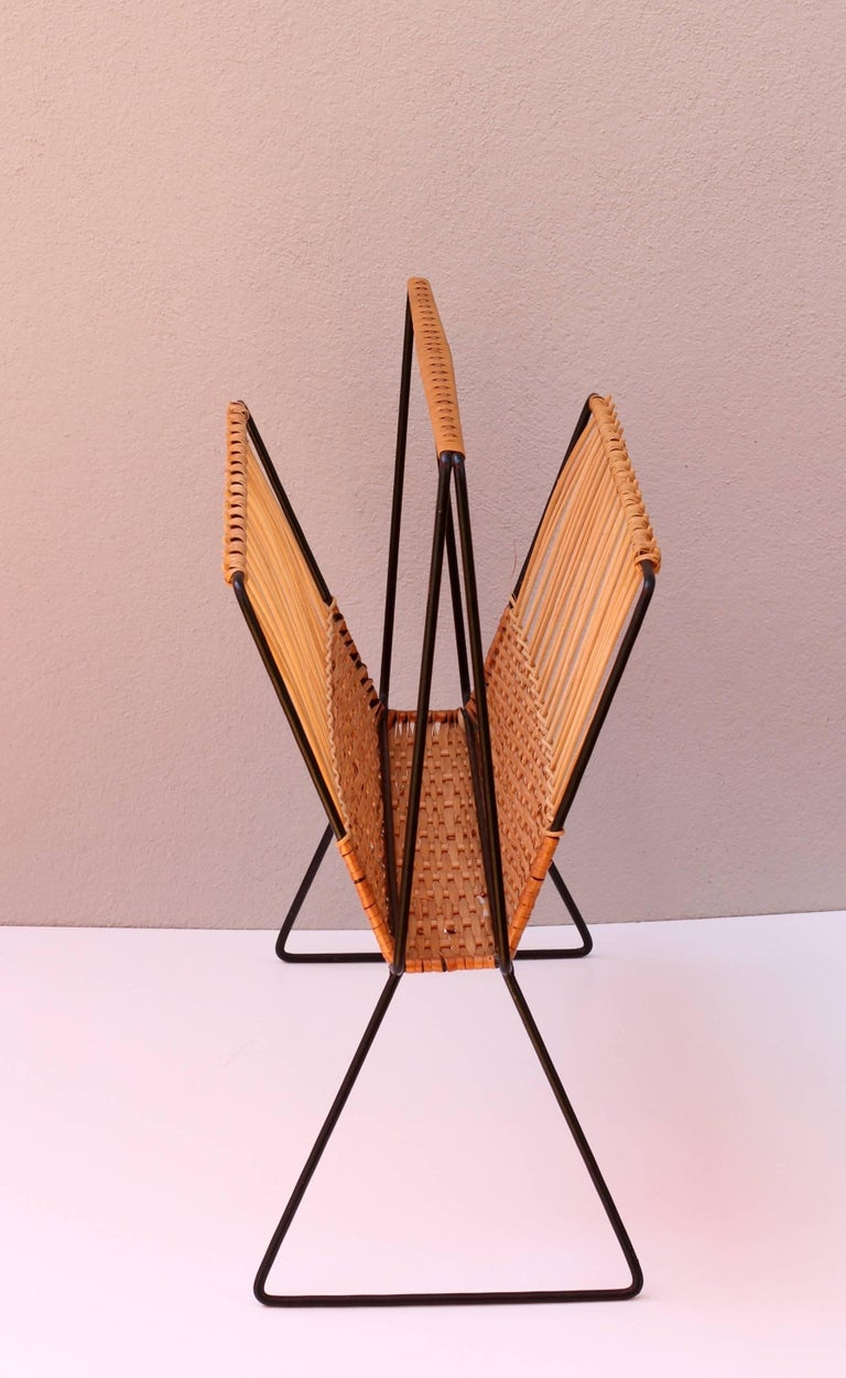20th Century Mid-Century Modernist Wicker Magazine Rack Stand Attributed to Carl Auböck For Sale