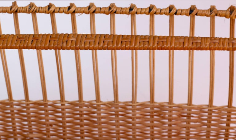 Mid-Century Modernist Wicker Magazine Rack Stand Attributed to Carl Auböck For Sale 3