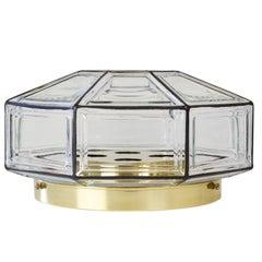 Extra Large Octagonal Iron and Clear Glass Flush Mount Light, Glashütte Limburg