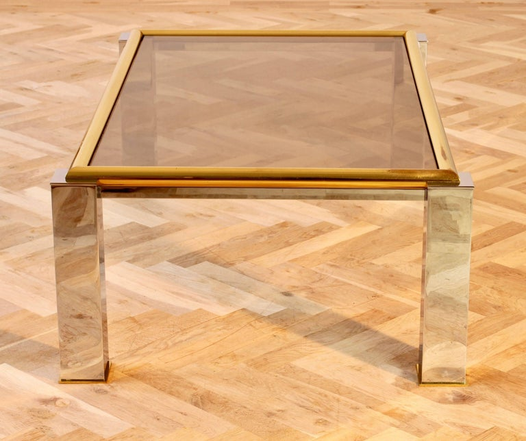 Mid-Century Modern Large Bicolor Coffee Table Brass and Chrome Smoked Glass 1970s Springer Style For Sale