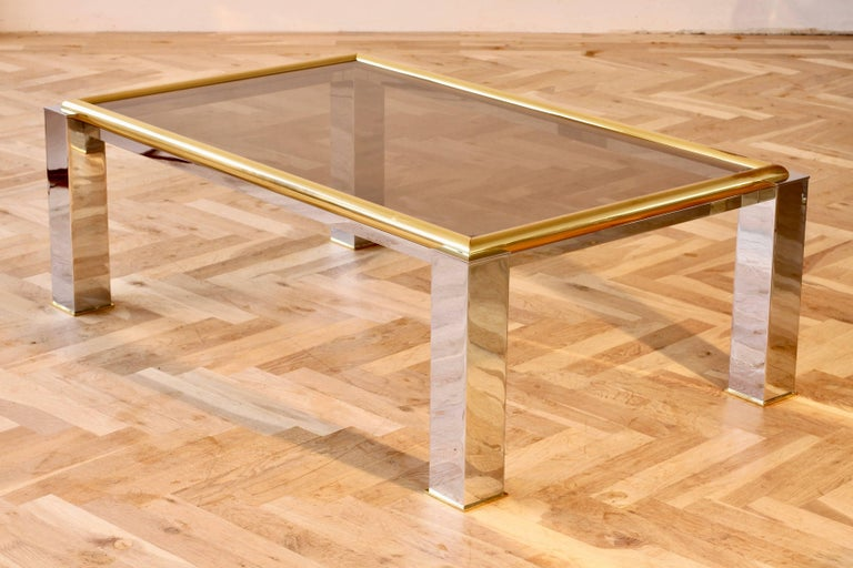 Italian Large Bicolor Coffee Table Brass and Chrome Smoked Glass 1970s Springer Style For Sale
