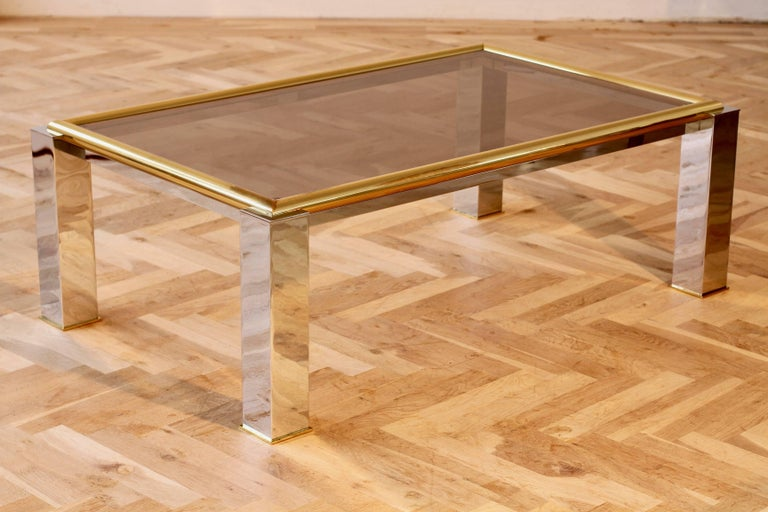 Stunning large bicolor / bicolour centre coffee table with smoked glass table tops