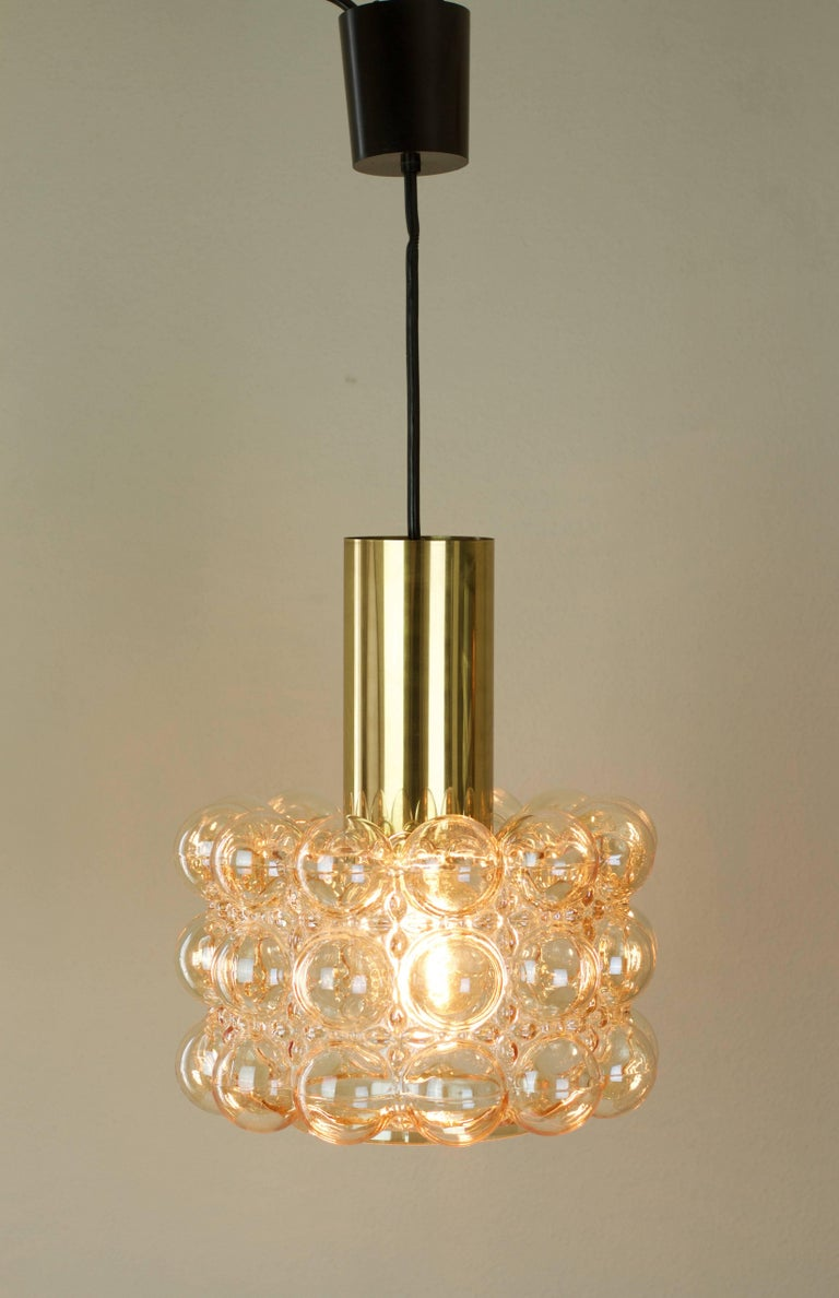 Mid-Century Modern Large Amber Bubble Glass Pendant Light / Lamp by Helena Tynell for Limburg For Sale