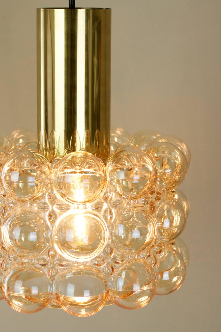 German Large Amber Bubble Glass Pendant Light / Lamp by Helena Tynell for Limburg For Sale