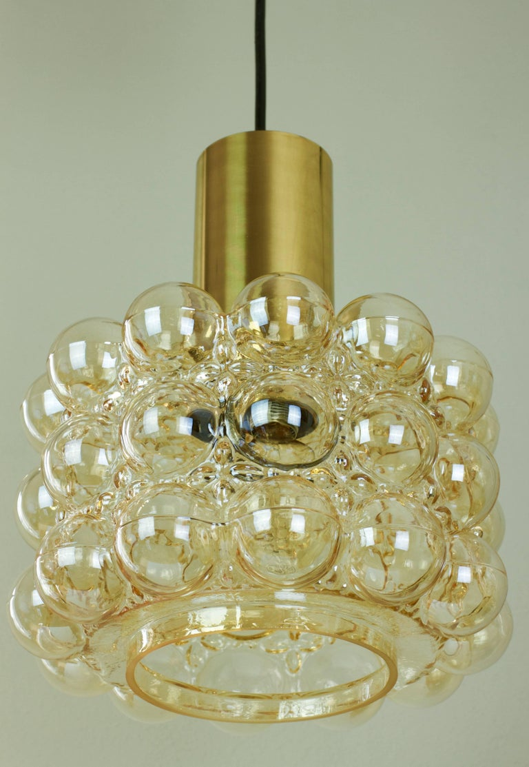 20th Century Large Amber Bubble Glass Pendant Light / Lamp by Helena Tynell for Limburg For Sale