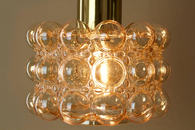 Brass Large Amber Bubble Glass Pendant Light / Lamp by Helena Tynell for Limburg For Sale