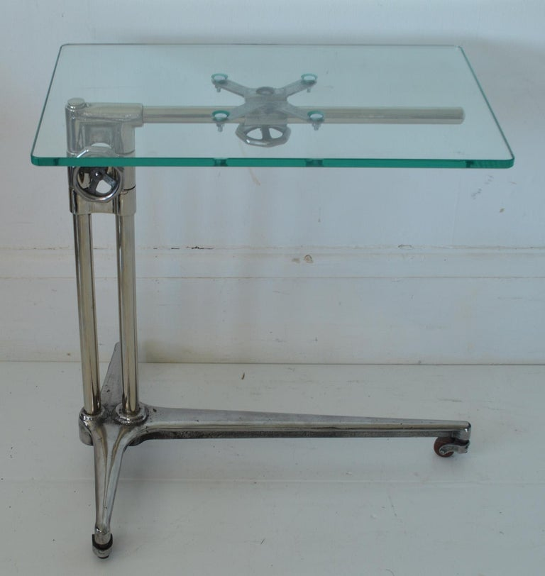 Vintage Industrial Polished Metal Adjustable High to Low Table, English, 1940s In Good Condition For Sale In St Annes, Lancashire