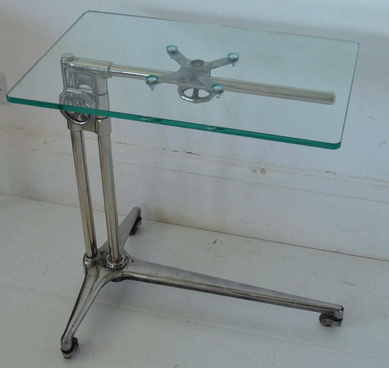 Mid-20th Century  Vintage Industrial Polished Metal Adjustable High to Low Table, English, 1940s For Sale