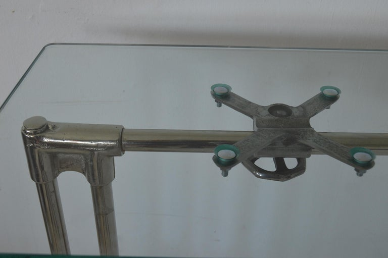 Vintage Industrial Polished Metal Adjustable High to Low Table, English, 1940s For Sale 1