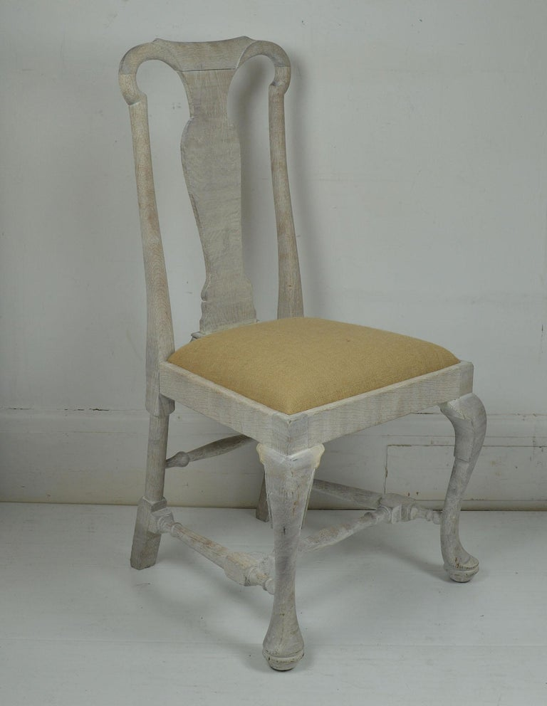 English Set of Four Antique Limed Oak Chairs In Baroque Style For Sale