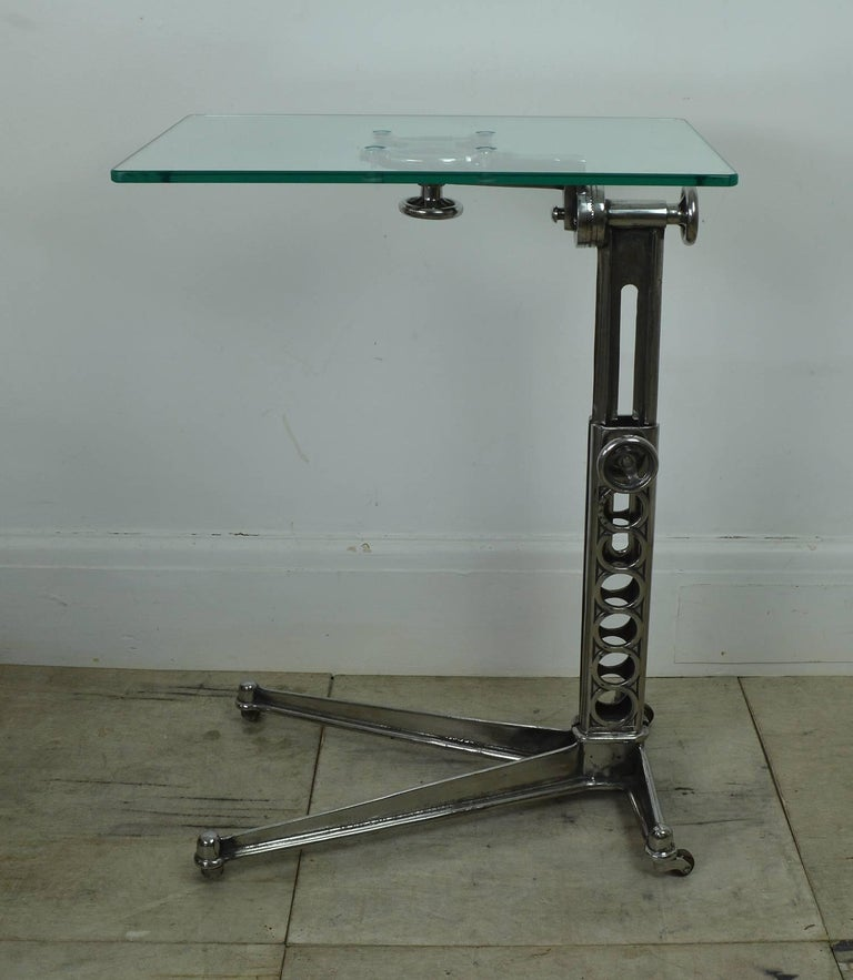 Stylish side or work table with an elegant Industrial look.
