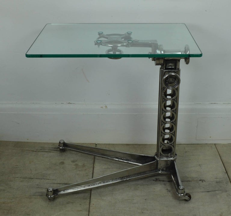 Steel Vintage Industrial Adjustable High to Low Work Table, English, 1920s