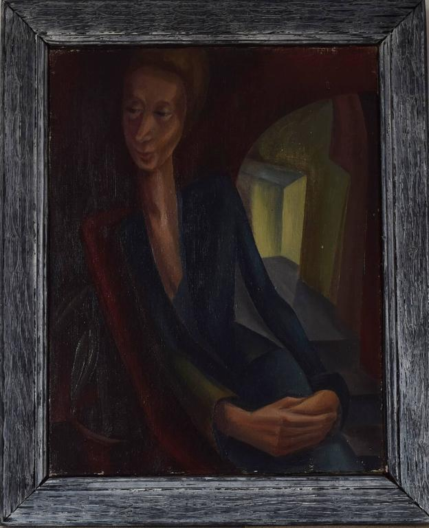 Wonderful image of a lady in an interior.  Oil on canvas, unsigned.  The artist is Iris Hardcastle. She is a Leeds/Bradford artist (North England ) who worked in the 1940s. She has exhibited at the Bradford City Art Gallery.  The frame is