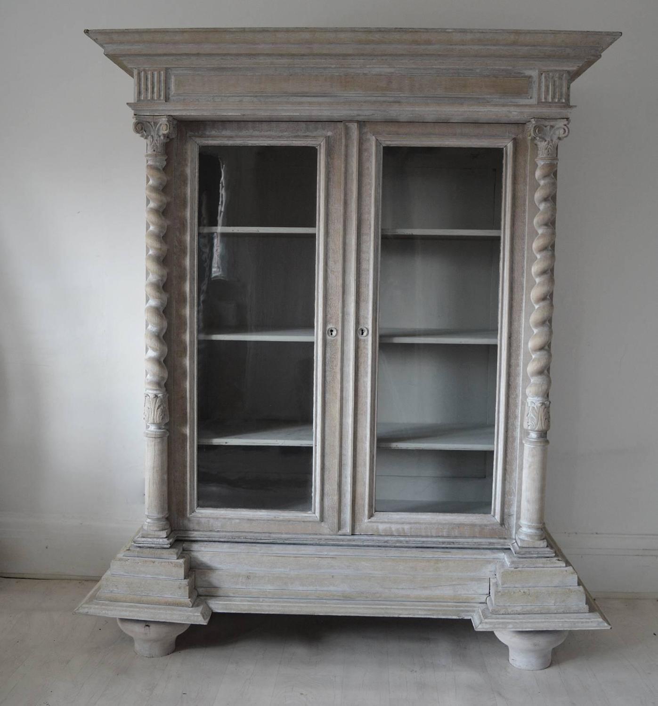 Antique Baroque Style Limed Oak Cabinet, Flemish, 19th