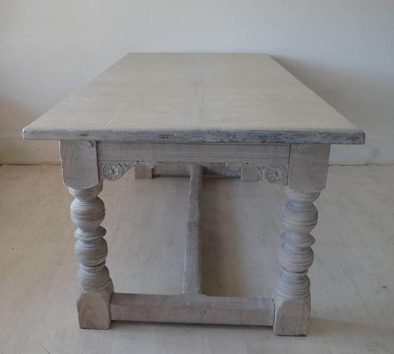 Antique 17th Century Style Limed Oak Dining Table At 1stdibs