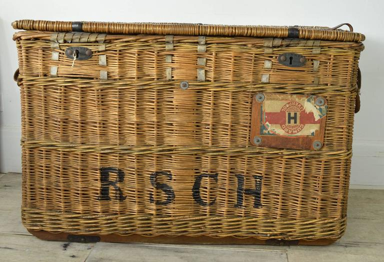 Auto Antique Wicker Trunks : Large antique wicker ocean liner trunk cunard line for