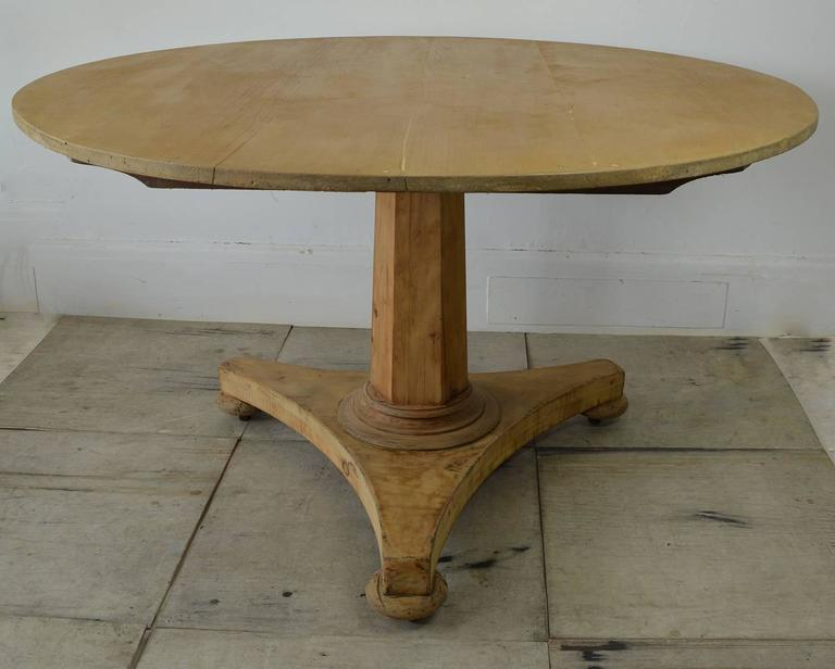 Other Large Antique Round Pine Dining Table, English, Circa 1850 For Sale