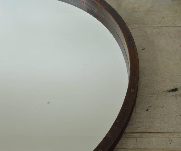 English Large Antique Style Wooden Framed Round Mirror For