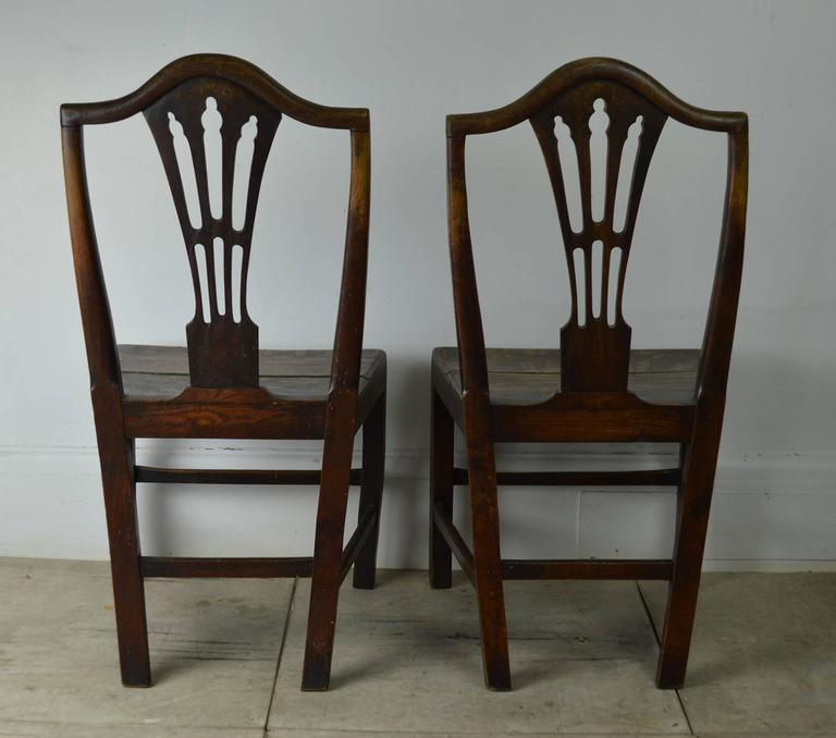 Great Britain (UK) Pair of Antique Oak Country Hepplewhite Chairs For Sale - Pair Of Antique Oak Country Hepplewhite Chairs For Sale At 1stdibs