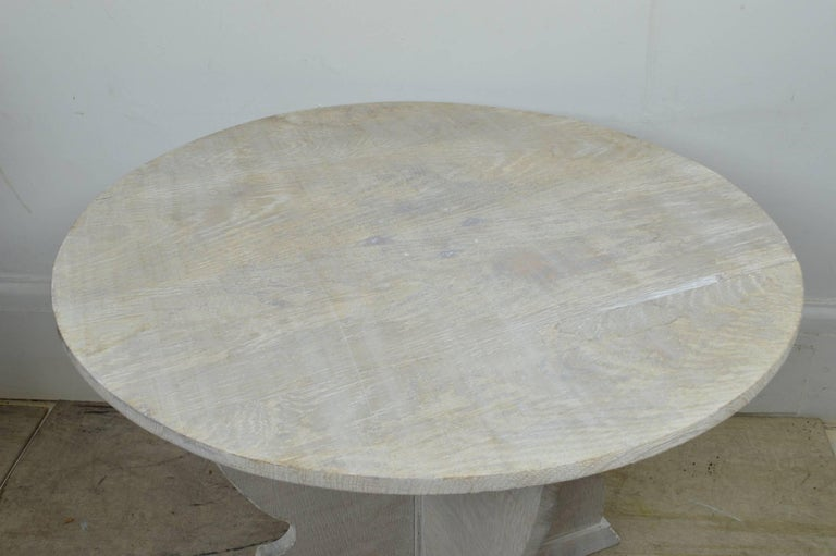 Gustavian Round Antique Limed Oak Coffee Table In Tyrolean Style For