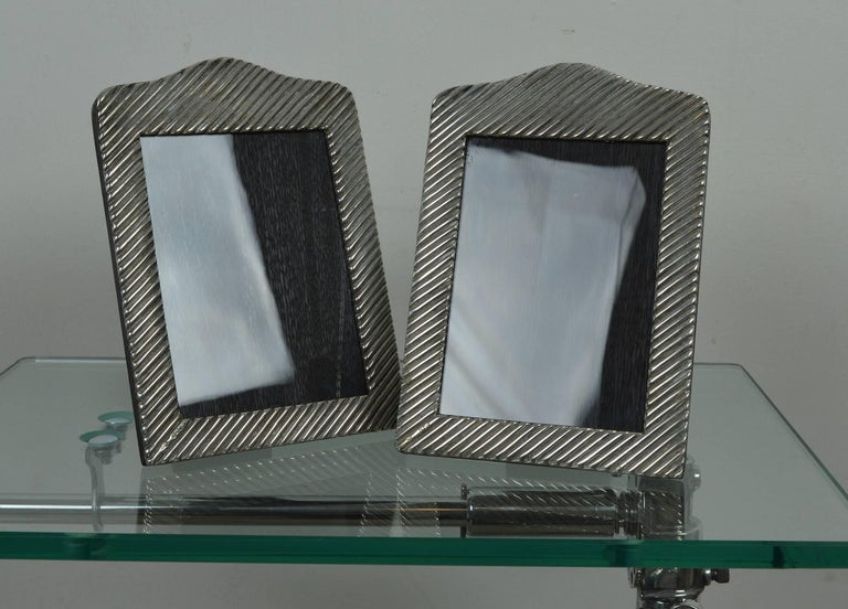 Pair Of Antique Silver Photograph Frames In Modernist Style English