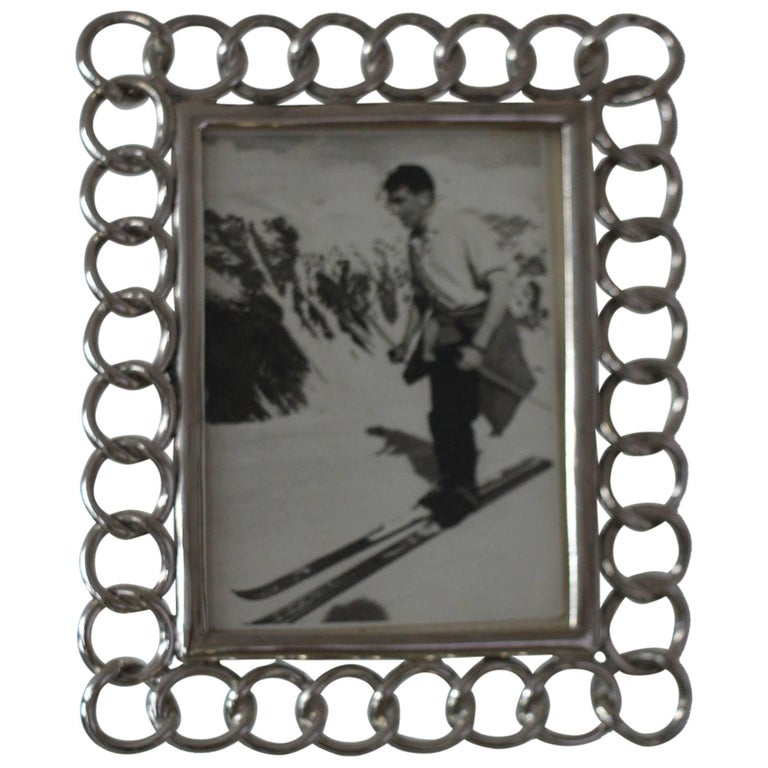 Antique Nickel-Plated Brass Ring Photograph Frame For Sale