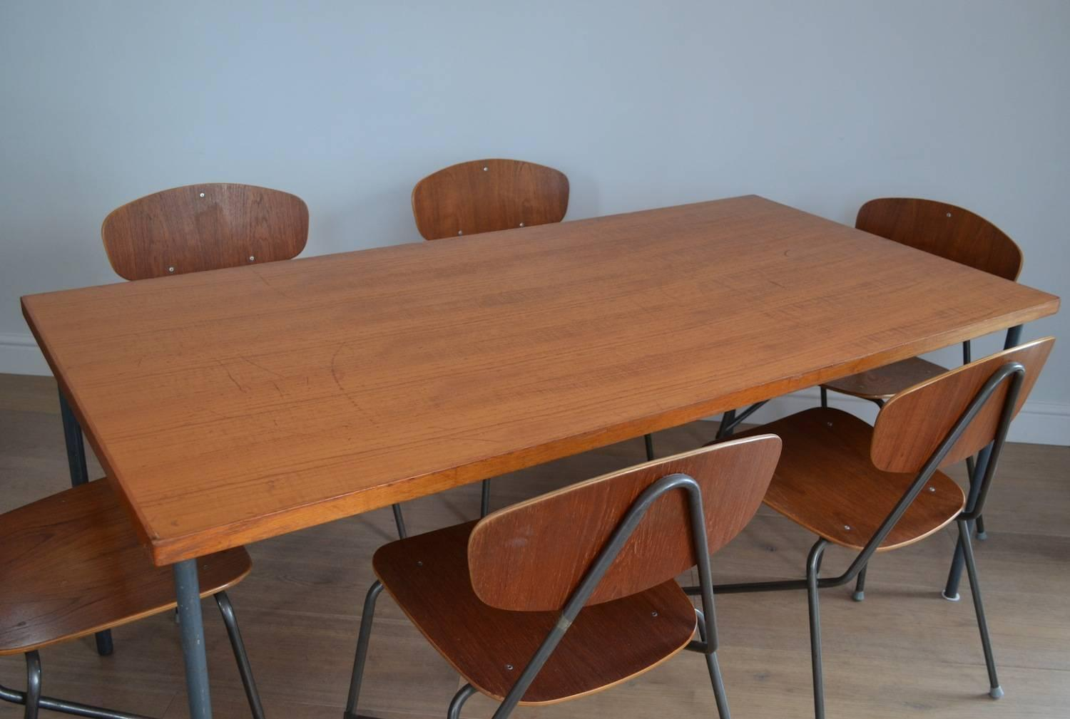 Vintage Industrial Remploy Dining Table And Six Stacking