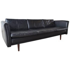 Black Leather Danish Midcentury Sofa, 1960s
