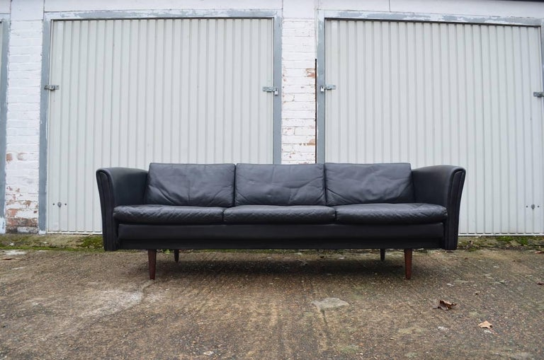 Peachy Black Leather Danish Midcentury Sofa 1960S Gamerscity Chair Design For Home Gamerscityorg