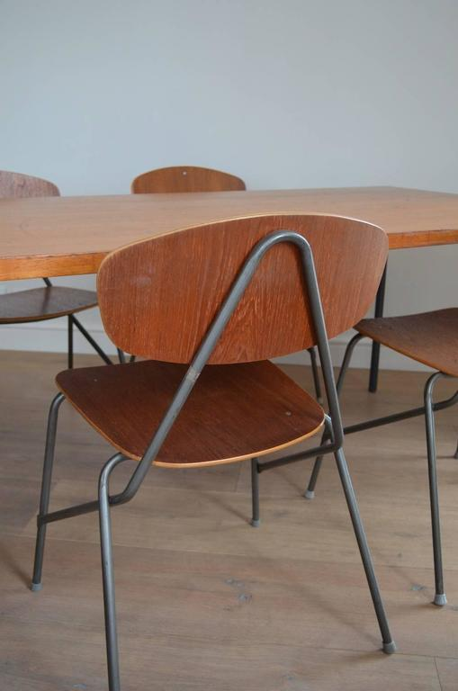 Vintage Industrial Remploy Dining Table and Six Stacking Chairs In Good Condition For Sale In London, GB