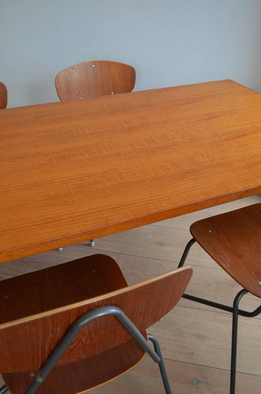 20th Century Vintage Industrial Remploy Dining Table and Six Stacking Chairs For Sale