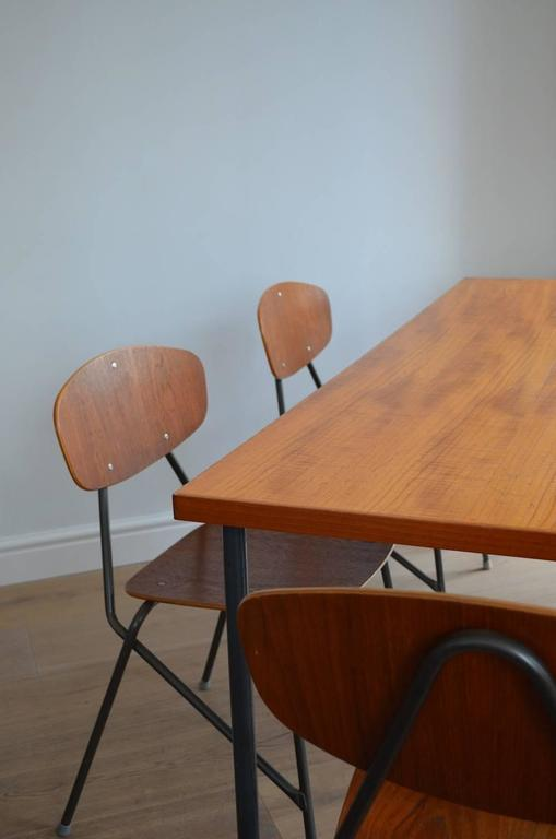 British Vintage Industrial Remploy Dining Table and Six Stacking Chairs For Sale
