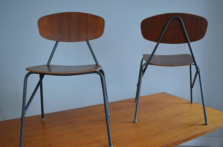 Vintage Industrial Remploy Dining Table and Six Stacking Chairs For Sale 2