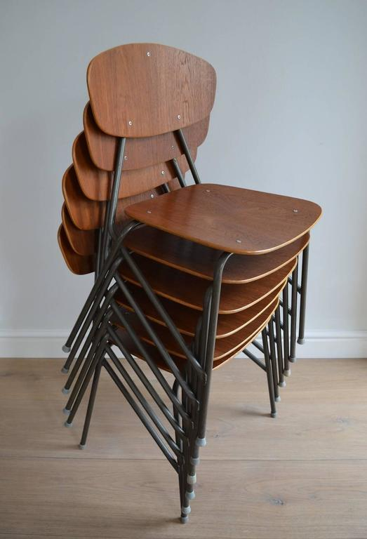 Vintage Industrial Remploy Dining Table and Six Stacking Chairs 6