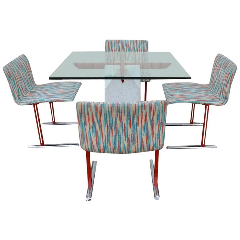 Giovanni Offredi for Saporiti Paracarro Dining Table and Four Inlay Chairs