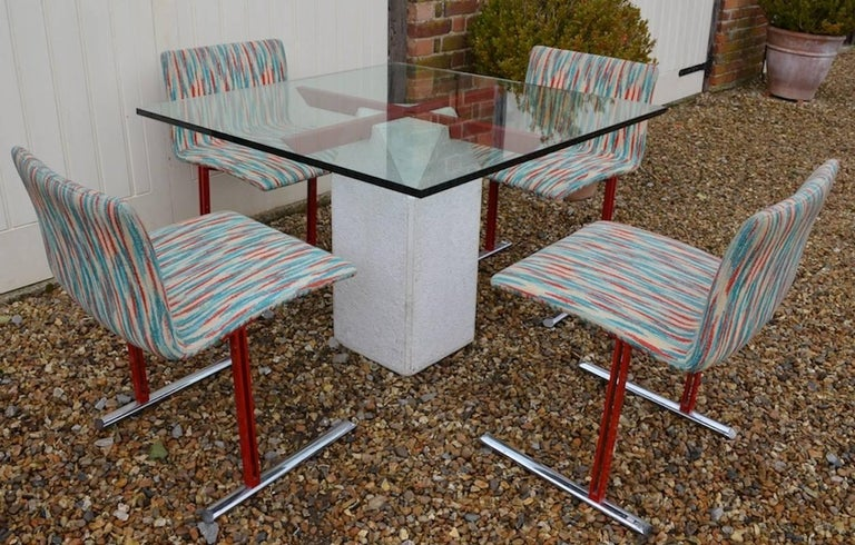 Modern Giovanni Offredi for Saporiti Paracarro Dining Table and Four Inlay Chairs For Sale